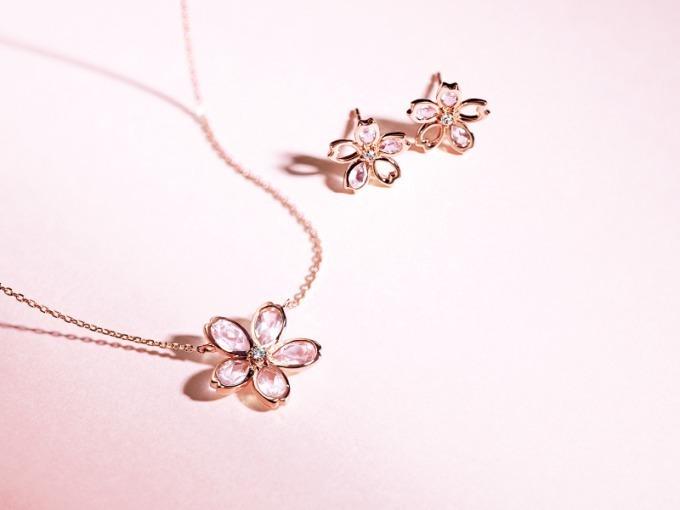 """4℃の春ジュエリー、桜の花びら模った""""ローズクォーツ"""""""
