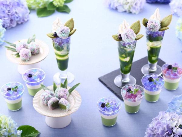 京都・宇治茶の伊藤久右衛門が、「紫陽花パフェ」を主役にした「抹茶×紫陽花まつり2019」