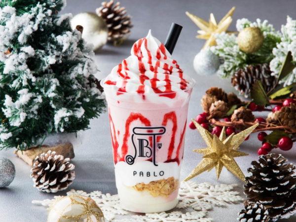 パブロカフェから、季節限定のスムージー「いちごのクリスマスチーズタルト」
