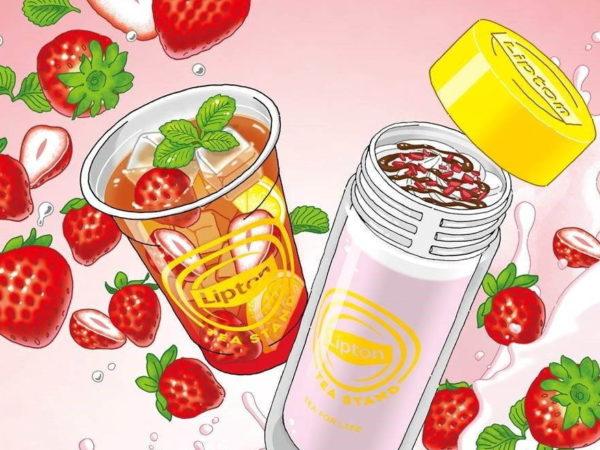 """リプトン ティー スタンドから、""""苺""""の限定ドリンク「Fruits in Tea いちご」「Milk Tea いちご」"""