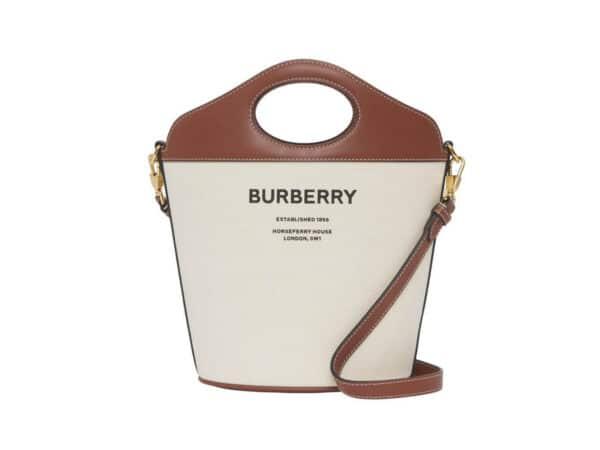 バーバリーから、「ポケットバケットバッグ」にキャンバス×レザーの新型モデル